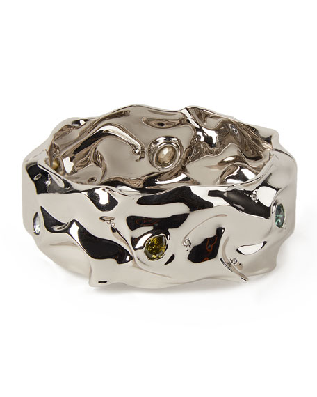 Alexis Bittar Stone Studded Crumpled Hinge Bracelet