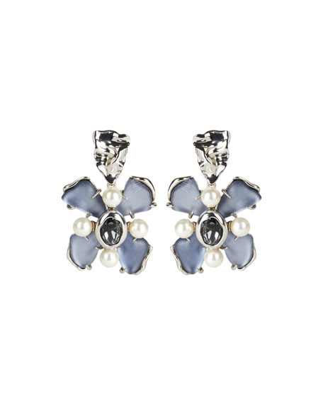 Alexis Bittar Byzantine Flower Crystal Clip-On Earrings, Blue