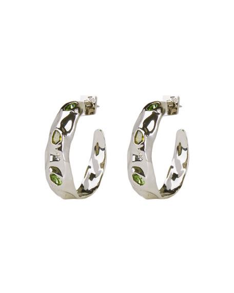 Alexis Bittar Stone Studded Crumpled Hoop Earrings, Silver
