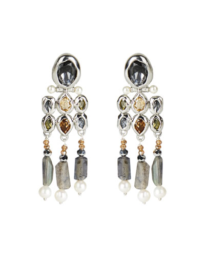 Byzantine Stone Cluster Fringe Omega Clip Earrings