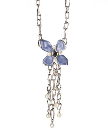 Alexis Bittar Byzantine Flower Chain Link Necklace, Blue