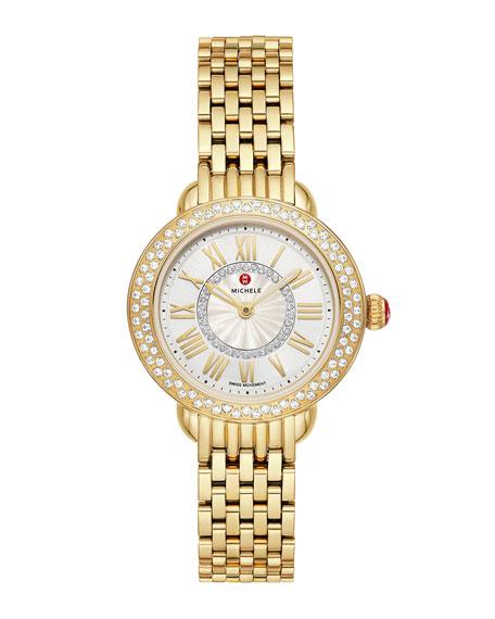 MICHELE Serein Petite 18k Gold Diamond Watch