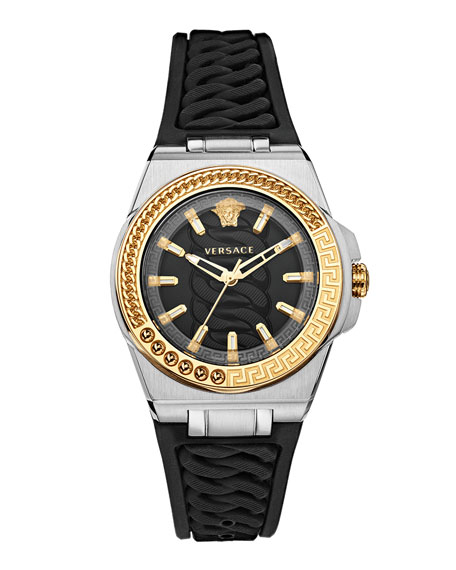 Versace Chain Reaction Watch with Rubber Strap, Two-Tone