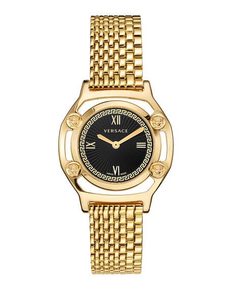 Versace Medusa Frame Watch with Bracelet Strap, Yellow Gold/Black