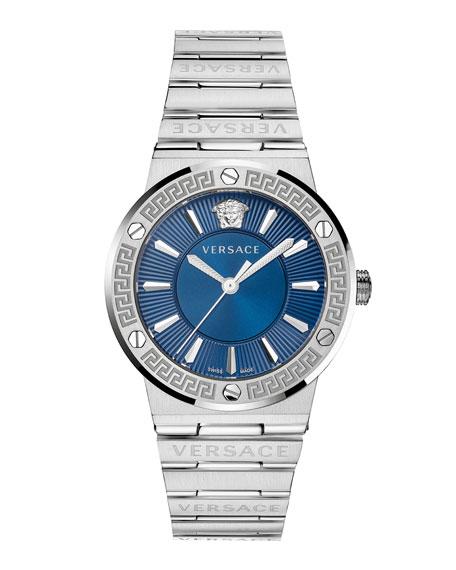 Versace Greca Logo Watch with Bracelet Strap, Stainless Steel/Blue