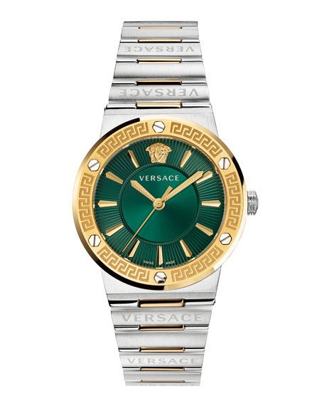 Versace Greca Logo Watch with Bracelet Strap, Two-Tone/Green