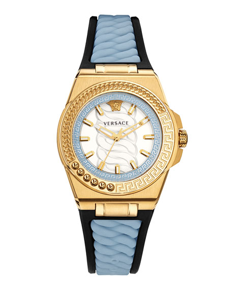 Versace Chain Reaction Watch with Rubber Strap, Champagne