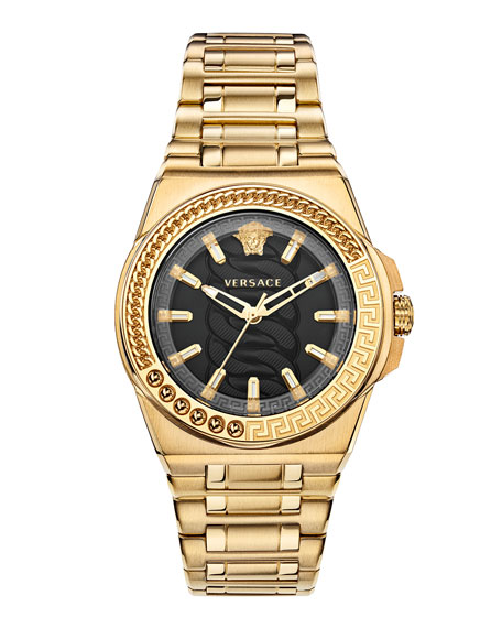 Versace Chain Reaction Watch with Bracelet Strap, Yellow Gold/Black