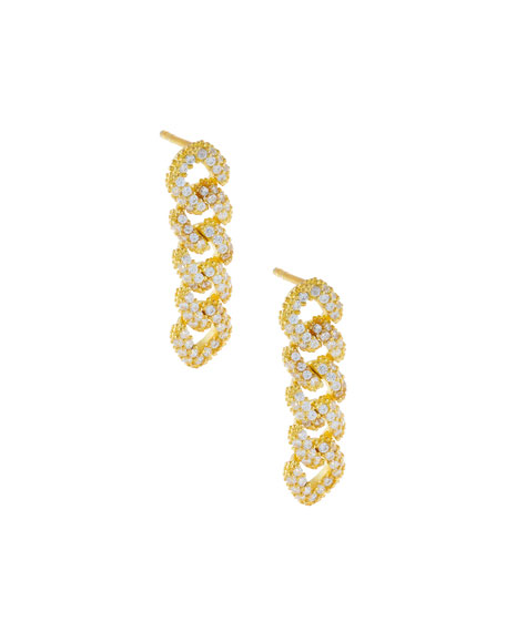 ADINAS JEWELS XS Pave Chain-Link Drop Earrings, Gold