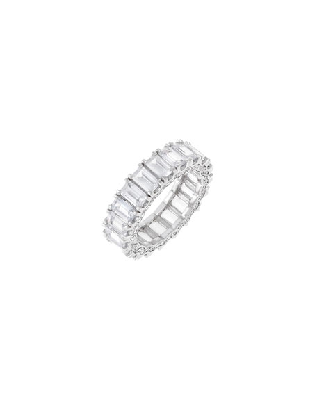 ADINAS JEWELS Pave Crowned Sterling Silver Baguette Ring, Size 6