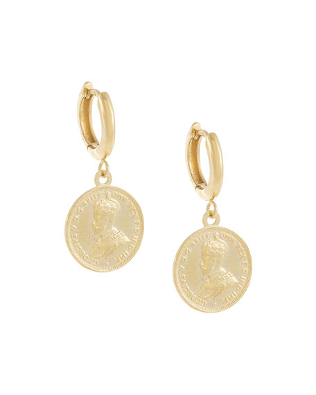 ADINAS JEWELS Vintage Mini Coin Huggie Earrings