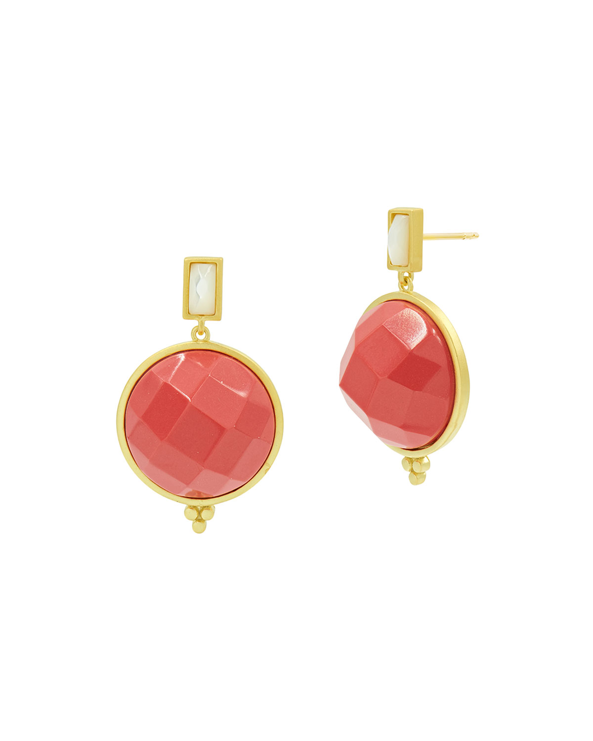 Candy Flat Coral Drop Earrings