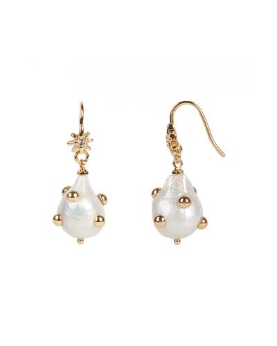 Studded Baroque Pearl Drop Earrings