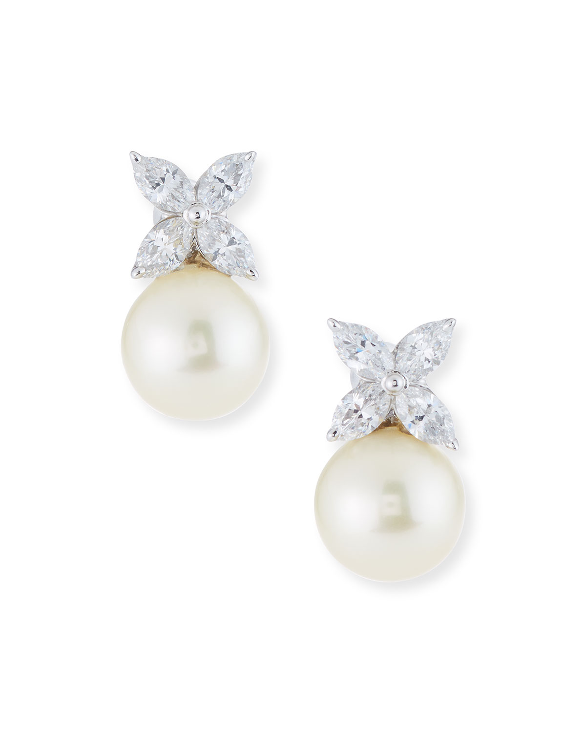 Cubic Zirconia Pearly Post Earrings