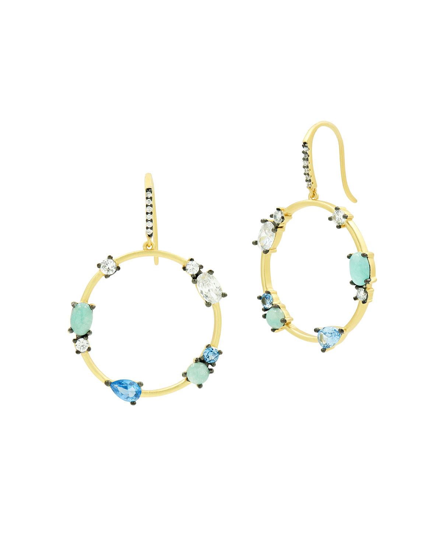 Amazonite and Aquamarine Open Hoop Earrings
