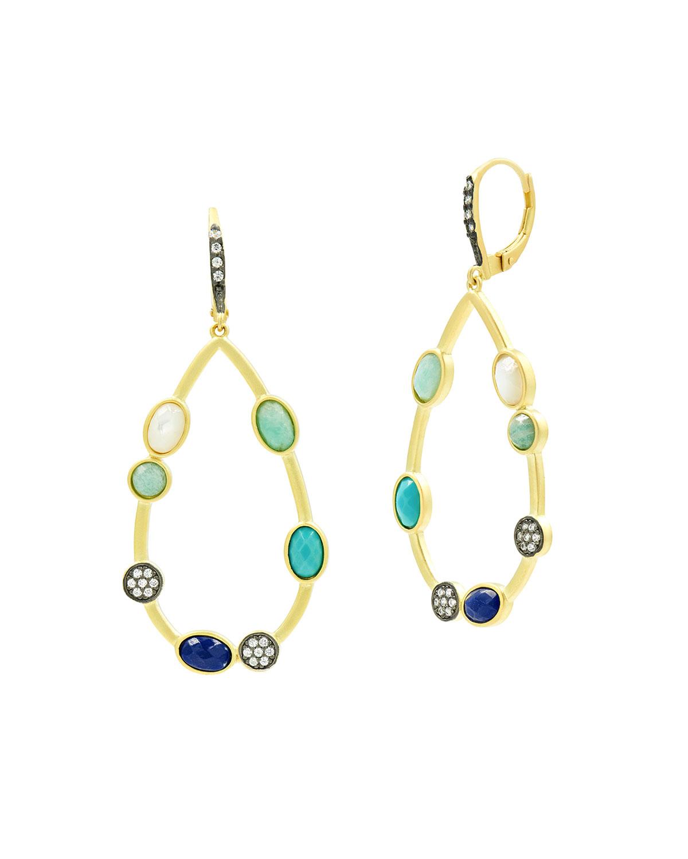 Touch of Turqoise 3-Stone Pearl Teardrop Earrings