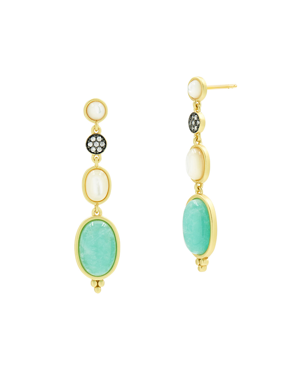Touch of Turquoise Amazonite & Mother-of-Pearl Drop Earrings