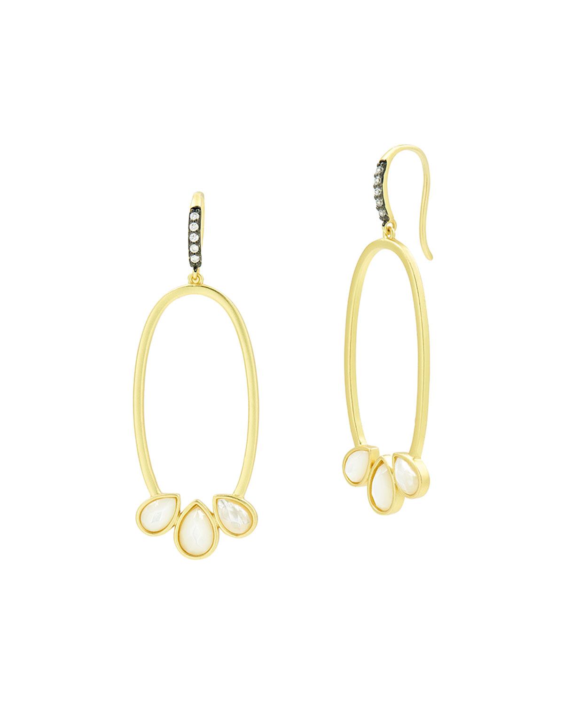 Mother-of-Pearl Open Oval Hoop Earrings