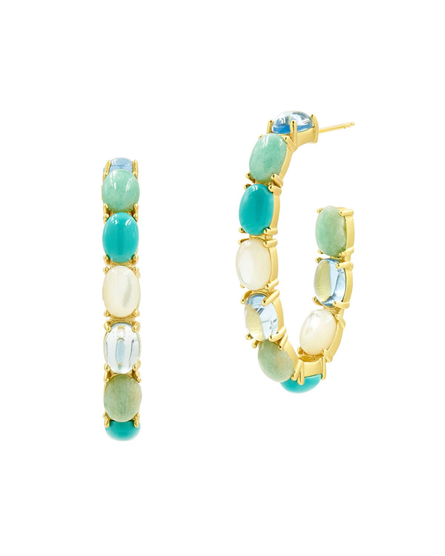 Multi-Stone & Mother-of-Pearl Open Hoop Earrings