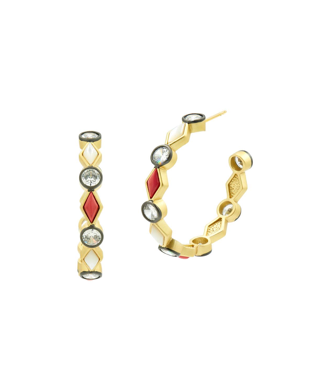 Coral and Cubic Zirconia Hoop Earrings