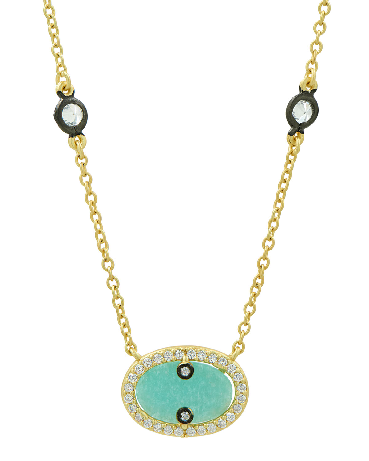 Hint of Sparkle Amazonite Oval Pendant Necklace