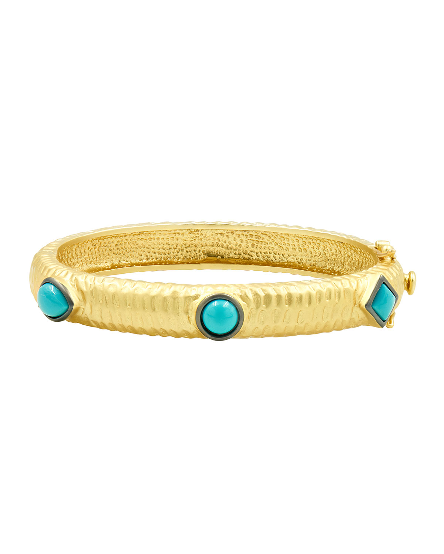 Multi-Shaped Turqoise Hinge Bracelet