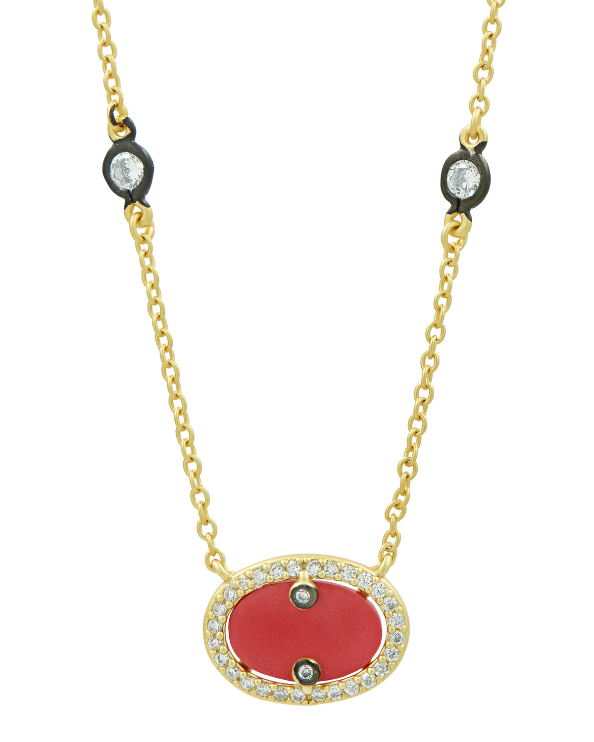 Color Theory Coral Oval Pendant Necklace
