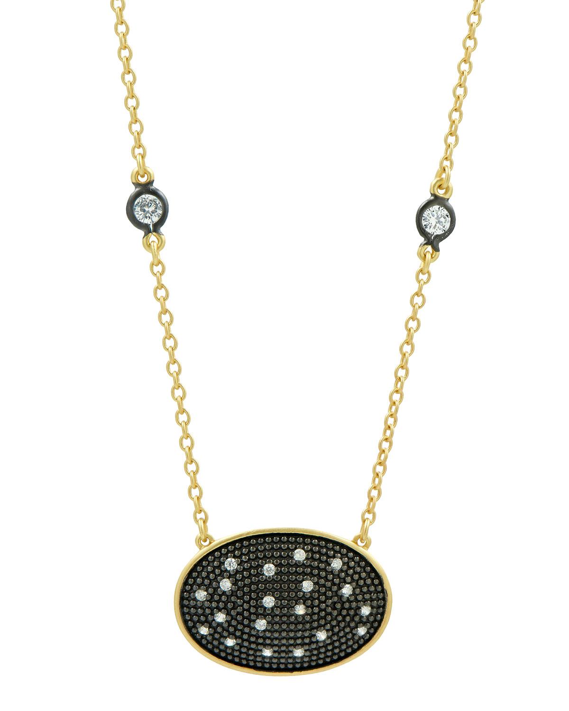 Horizontal Oval Pendant Necklace