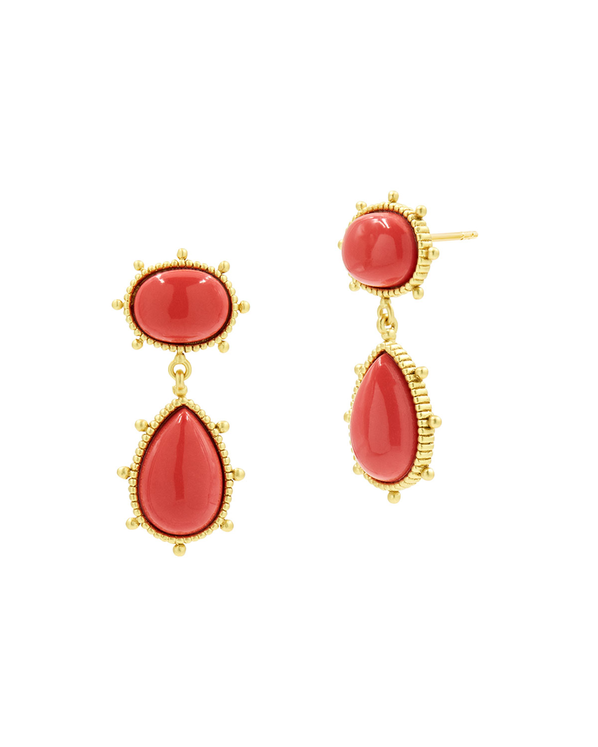 Cabochon Coral Drop Earrings
