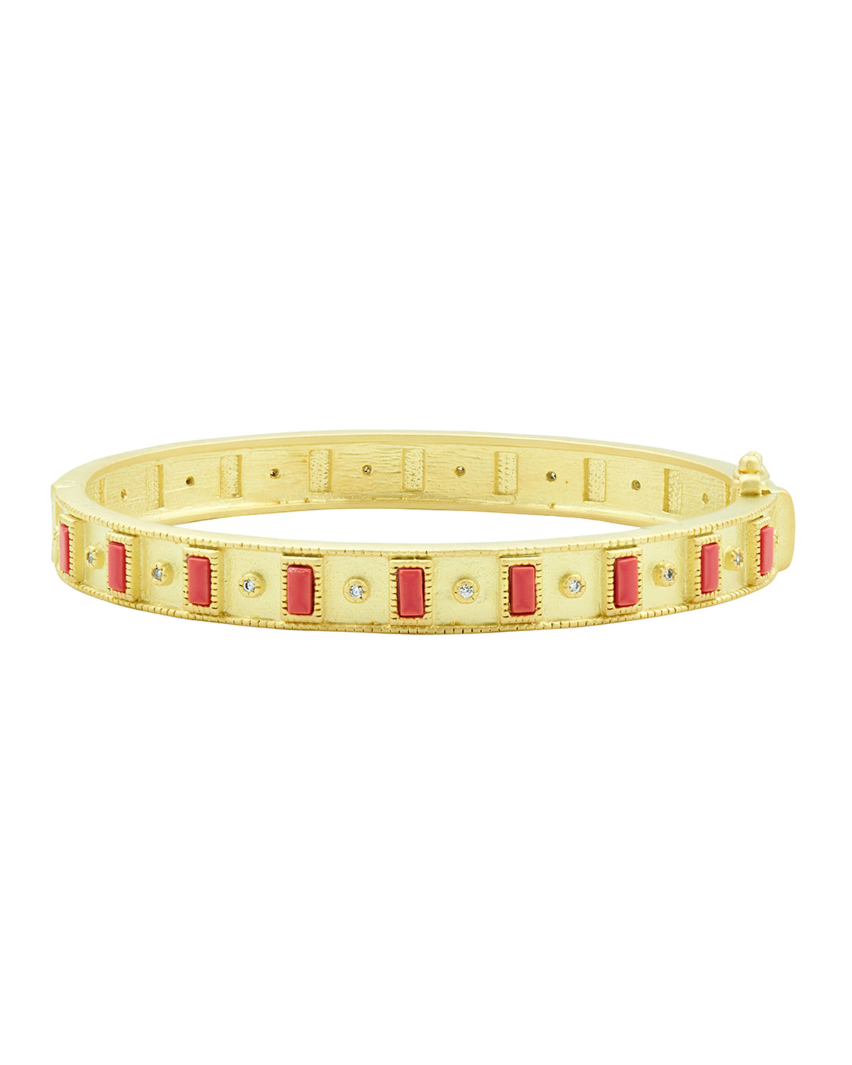 Coral and Cubic Zirconia Bangle