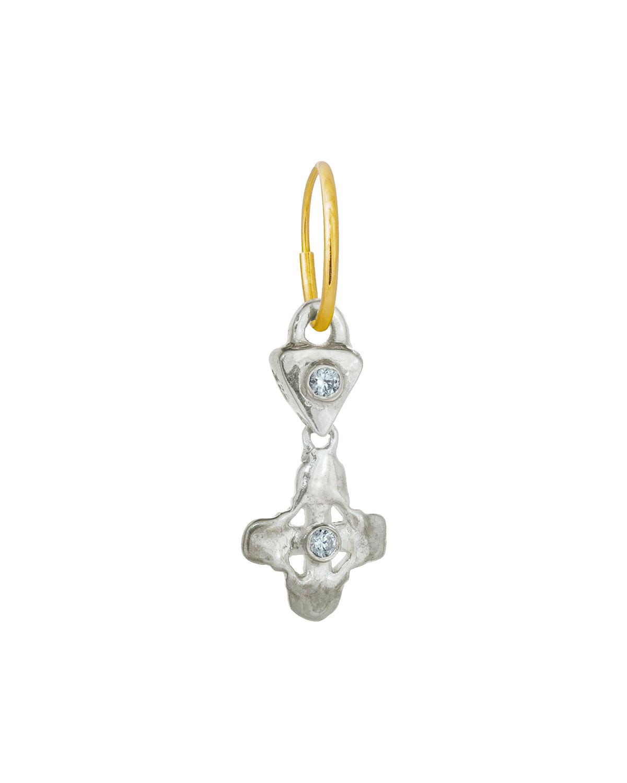 Sterling Silver Double Cross Cubic Zirconia Earring
