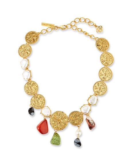 Oscar de la Renta Coin and Mixed Stone Necklace
