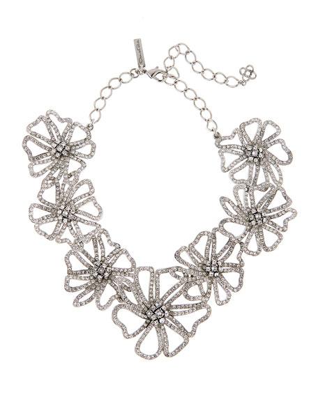 Oscar de la Renta Crystal Pave Flower Necklace