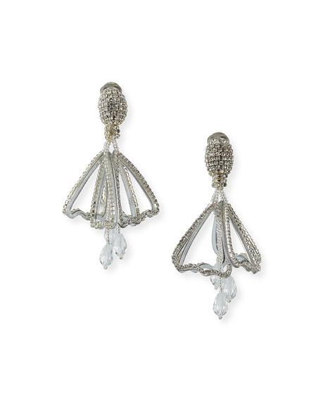 Oscar de la Renta Small Pave Impatiens Clip Earrings