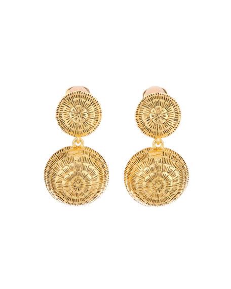 Oscar de la Renta Double-Dome Clip Earrings