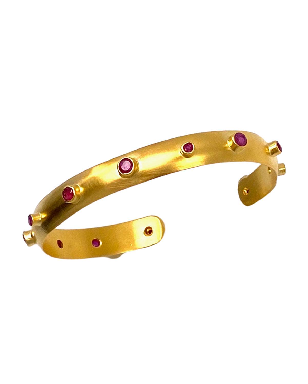 Multi-Ruby Mini Cuff Bracelet