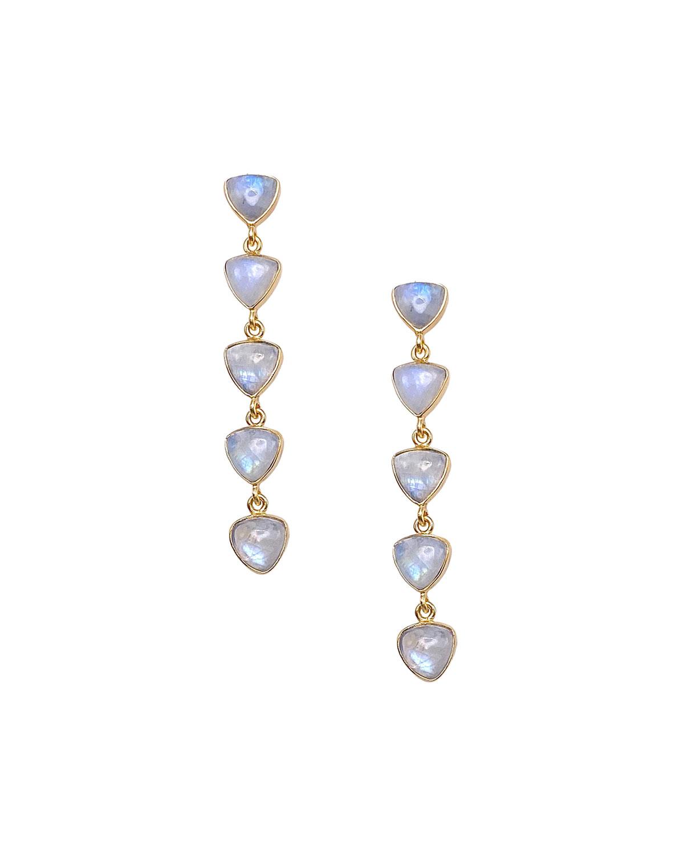 Rainbow Moonstone Linear Earrings