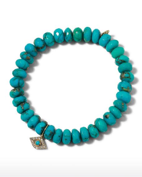 Sydney Evan Diamond Evil Eye Turquoise Bead Bracelet