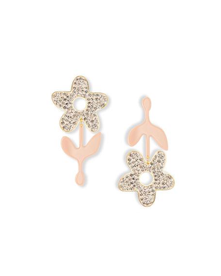 Lele Sadoughi Crystal Flower Stem Earrings