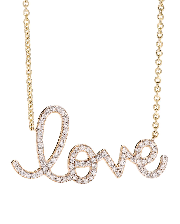 Sydney Evan 14K DIAMOND LOVE SCRIPT NECKLACE, MULTI GOLD
