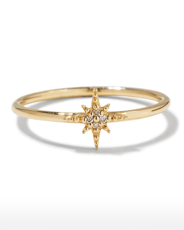 Sydney Evan 14K MINI DIAMOND STARBURST RING
