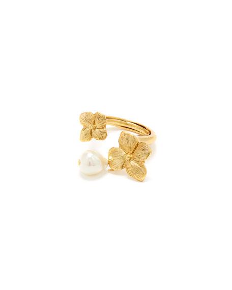 Oscar de la Renta Pearl Flower Open Ring