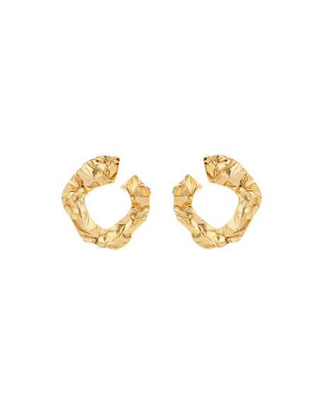 Oscar de la Renta Crinkled Metal Small Hoop Earrings