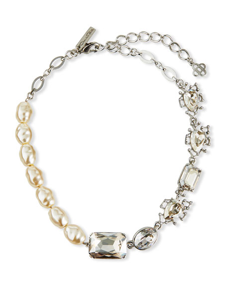 Oscar de la Renta Floating Crystal and Pearl Necklace