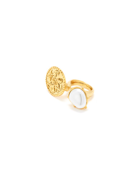 Oscar de la Renta Coin and Pearly Between-the-Finger Ring