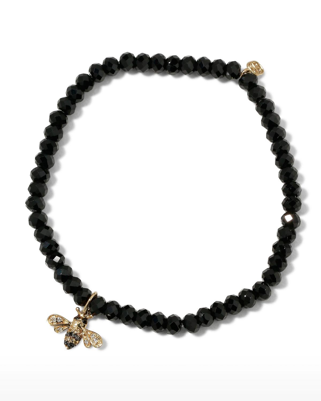 Sydney Evan 4MM BLACK SPINEL DIAMOND AND SAPPHIRE BEE BRACELET