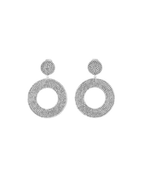 Oscar de la Renta Embellished Crystal Hoop Clip Earrings