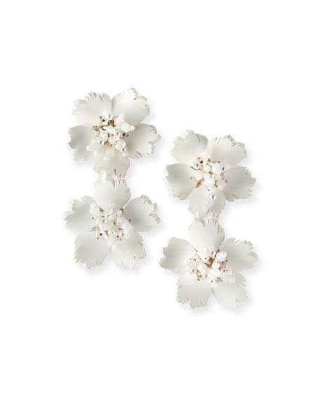 Oscar de la Renta Double-Flower Drop Earrings, White