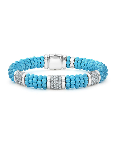 Lagos Blue Caviar 3-Station Diamond Rope Bracelet