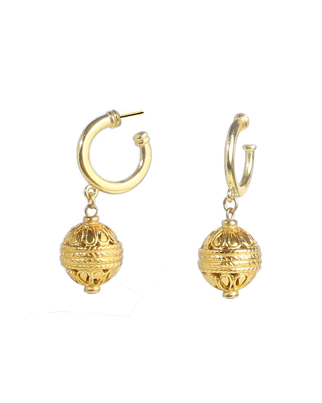 Sphere-Drop Huggie Earrings